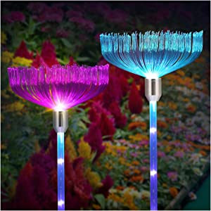 Solar Garden Lights Outdoor - Upgraded LED Solar Powered Stake Lights, Multi-Color Auto-Changing Waterproof Fiber Optic Decorative Lights for Patio, Backyard, Pathway, Party(2 Pack)