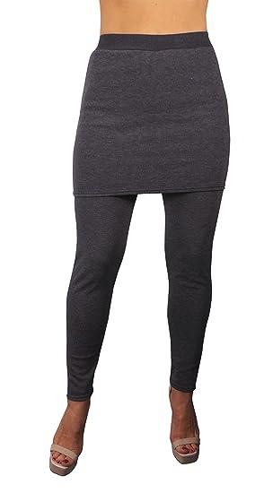 14a915b8b9 Peach Couture Womens Trendy Fleece Lined Skirt Leggings (S/M, Dark Gray)