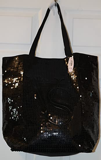 Amazon Com Victoria S Secret Black Sequin Signature Tote