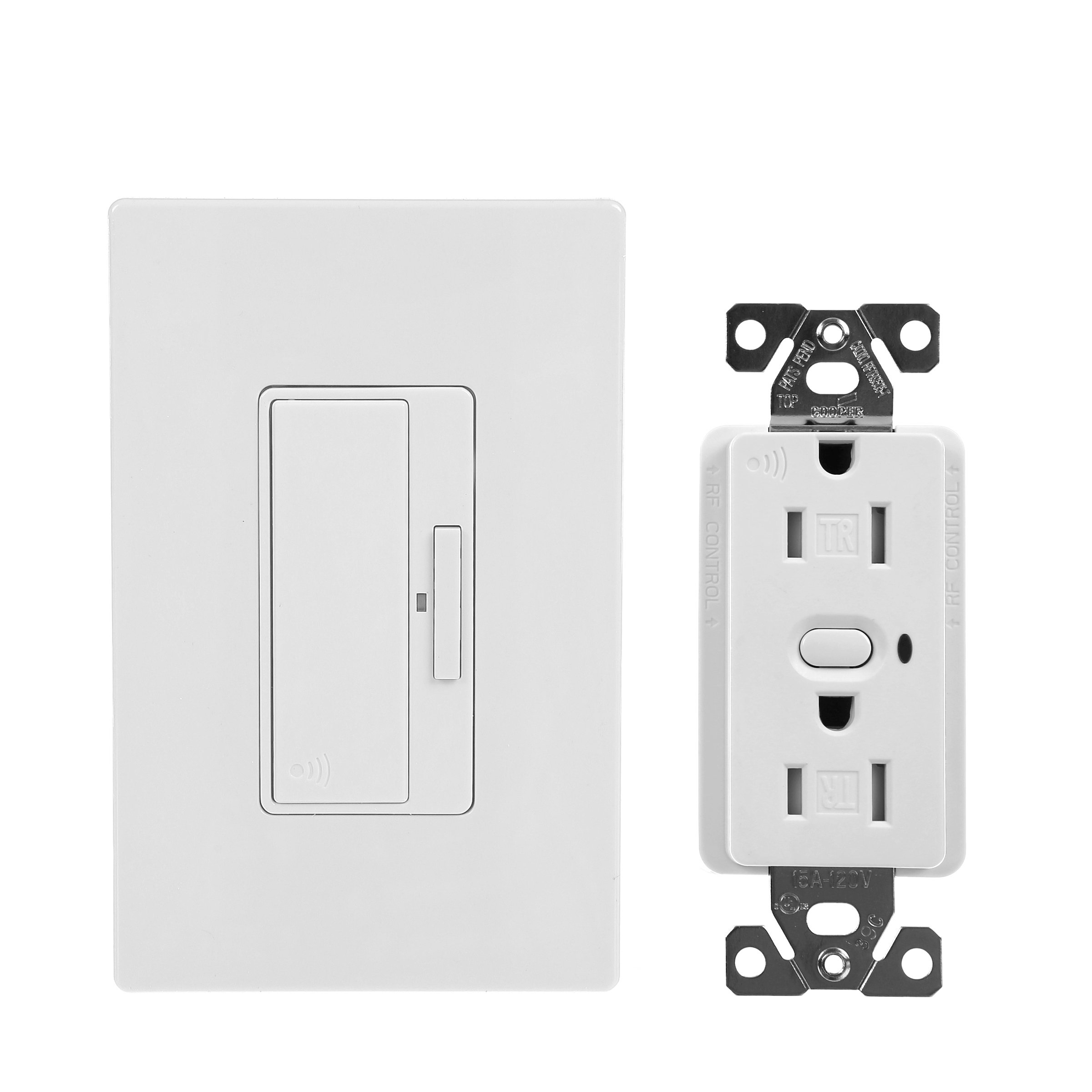 Eaton RFAS05DW Z-Wave Anyplace Kit (RF9575DW Switch and RFTR9505-Tdw Decorator Receptacle), White