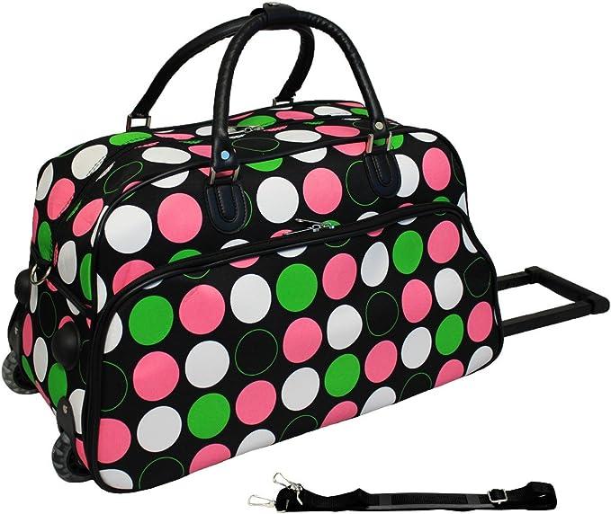 World Traveler 21 Inch Carry On Rolling Duffel Bag New Multi Dot Travel Duffels
