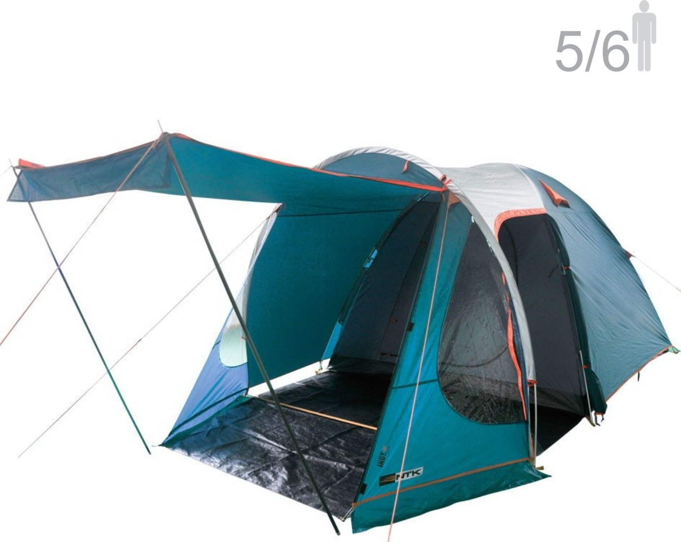 NTK Indy GT XL sleeps up to 6 person 14.2 by 8.0 FT Outdoor Dome Family Camping Tent 100% Waterproof 2500mm, European Design,Easy Assembly, Durable Fabric Full Coverage Rainfly - Micro Mosquito Mesh.
