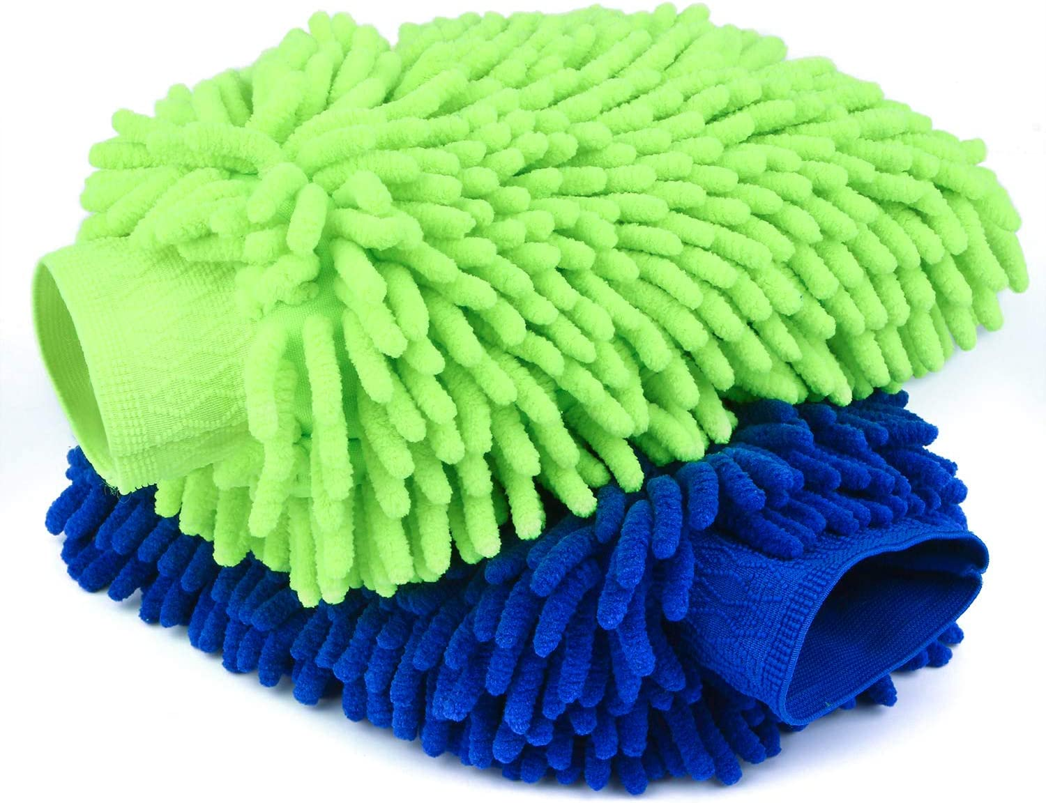 Car Wash Mitt 2 Pack - 12 X 9 Inch Extra Large Size Clean Tools Kits- Premium Chenille Microfiber Winter Waterproof Cleaning Mitts - Washing Glove with Lint Free & Scratch Free