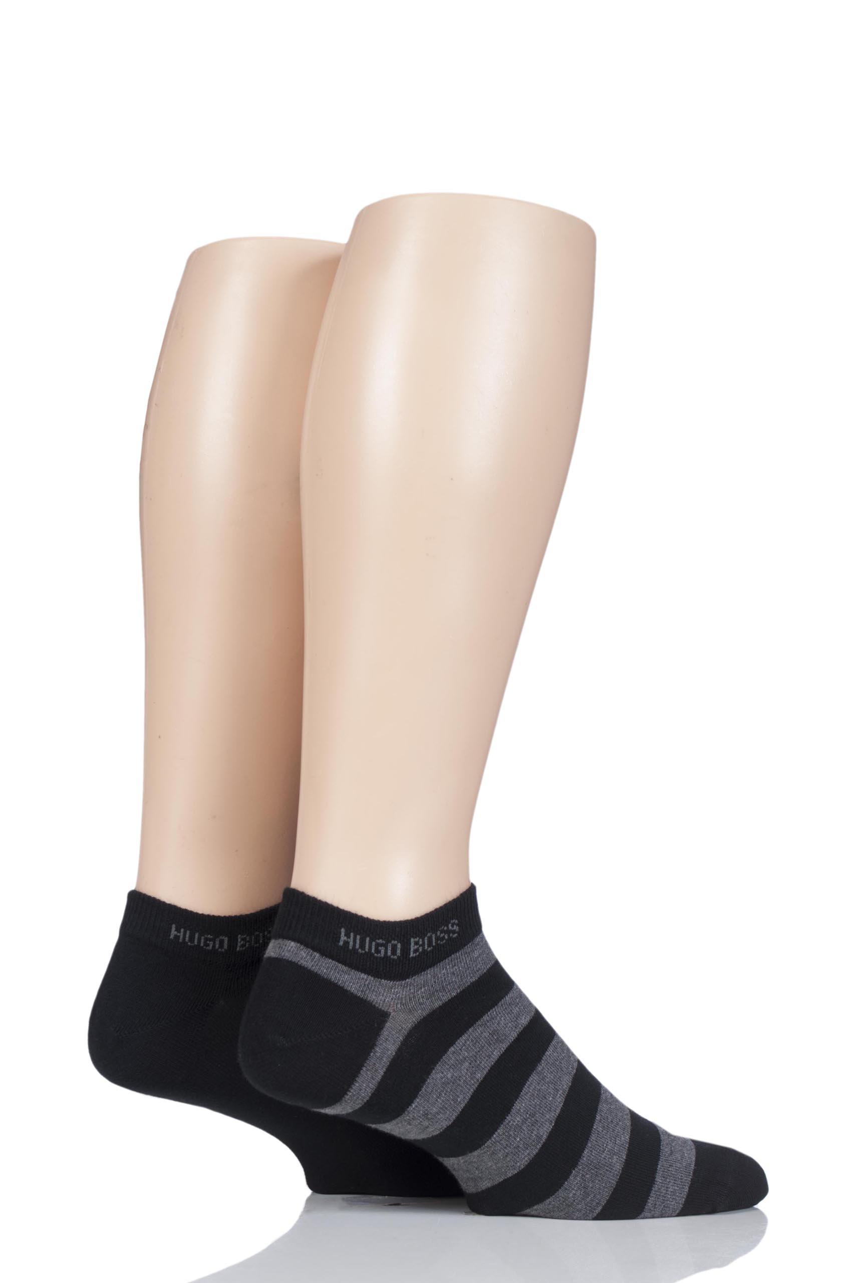 Hugo Boss 50384886 Mens 2 Pair Combed Cotton Plain and Striped Sneaker Socks Black 9-11.5