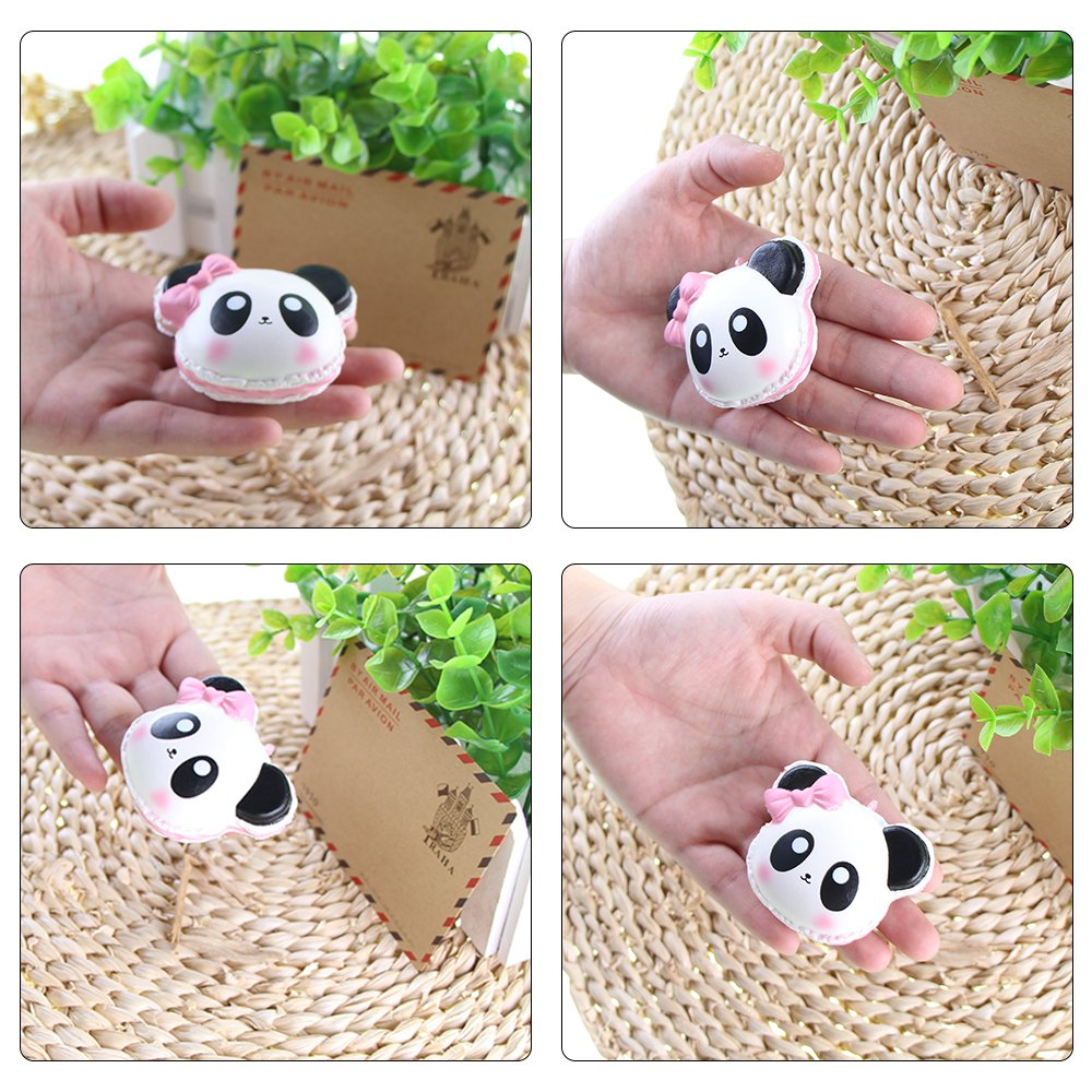 Squishy Toys Macaron Panda Vlampo Slow Rising Stress Relief Squishies Squeeze Kids Toys Mini Kawaii Scented Decoration Toys for Keychains Phone Backpack Brown