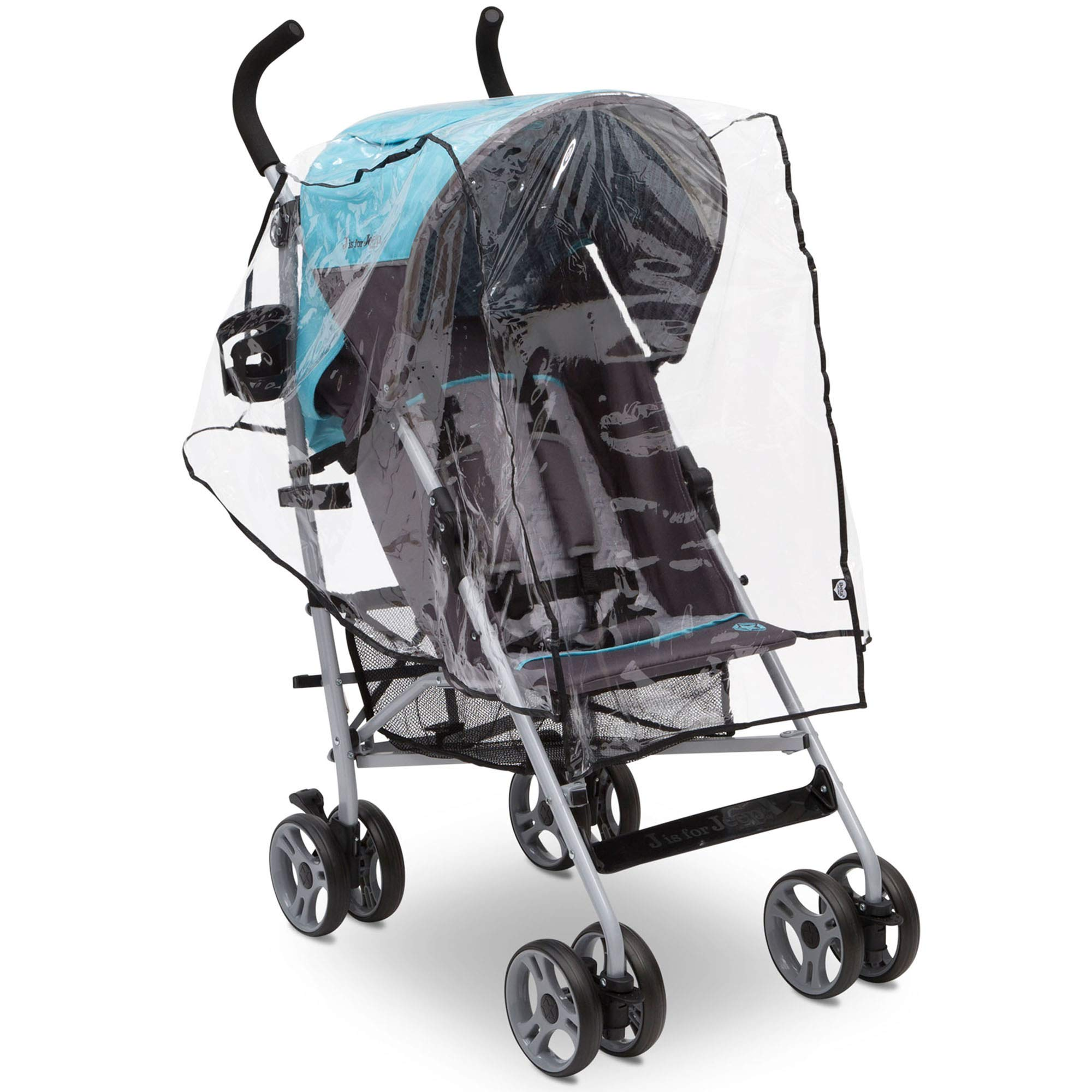 Delta Children Umbrella Stroller Rain Cover | Universal Size | Weather Shield Protects Your Baby from Rain, Wind, Snow, Sleet or Insects | Ventilated | Storage Pocket Included (Clear) by Delta Children (Image #2)