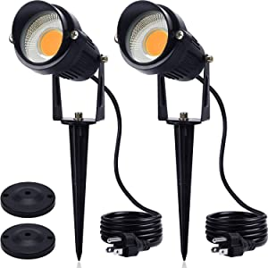 SUNVIE Outdoor Spotlight 5W LED Landscape Lighting 120V AC Waterproof Spot Lights for Yard Landscape Lights with Stakes for Tree Lawn Garden 3000K Warm White Flag Spotlight with US 3-Plug in (2 Pack)