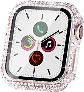Fullife Compatible with Apple Watch Case, Bling Cases Replacement for Apple Watch 38mm 40mm 42mm 44mm Protective Bumper Compatible with Apple Watch Series 6 5 4 3 2 1 SE (40mm-Clear)