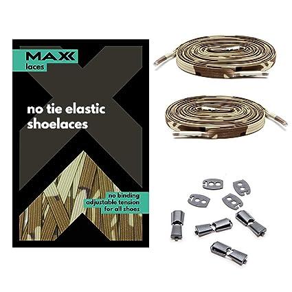 MAXXLACES - Cordones elásticos y planos, tensión ajustable para no ...