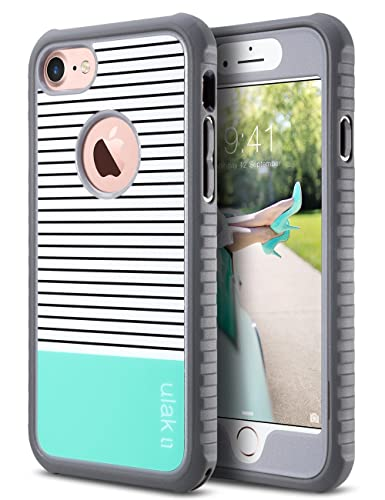 Ulak I Phone 8 & 7 Case, Shock Absorbing Flexible Durability Tpu Bumper Case, Durable Anti Slip, Front And Back Hard Pc Defensive Protection Cover For Apple I Phone 7 4.7 Inch,Mint Stripes Minimal by Ulak