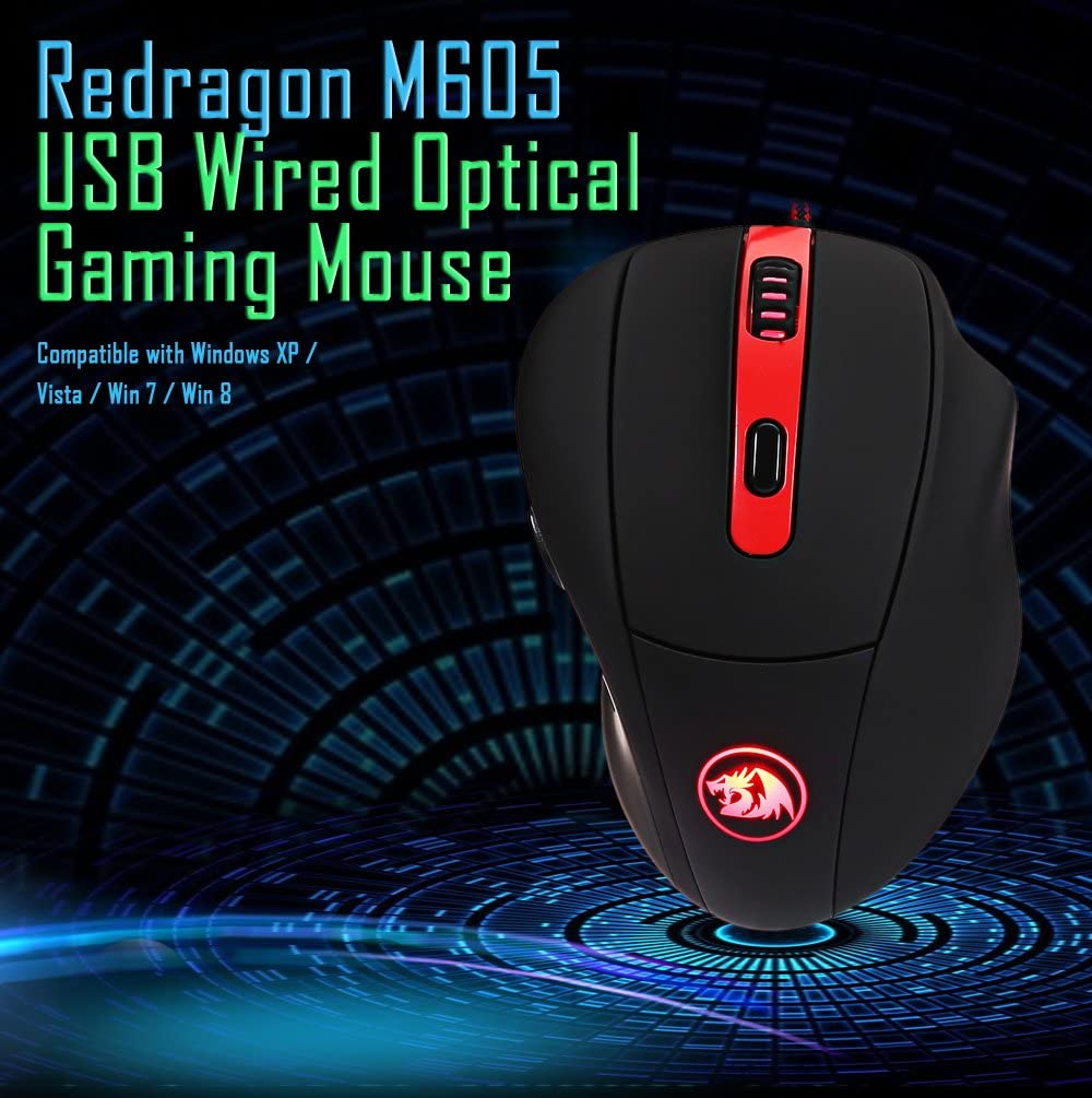 Redragon M605 2000DPI Professional 6 Buttons USB Wired Optical Gaming Mouse