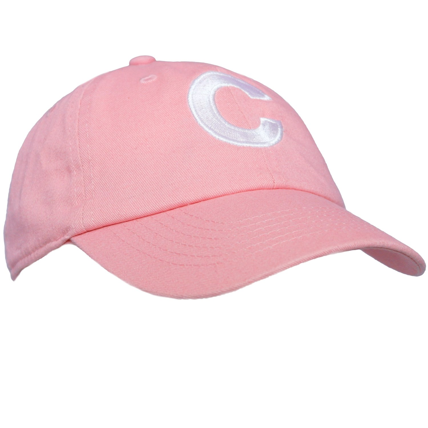 Tiny Expressions Toddler Girls' Pink Embroidered Initial Baseball Hat Monogrammed Cap (C, 2-6yrs)