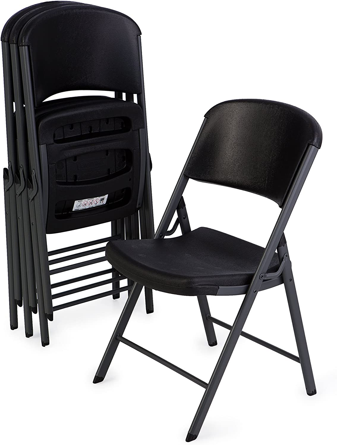 Lifetime 80187 Classic Commercial Grade Folding Chair, Black with Gray Frame, 4 Pack