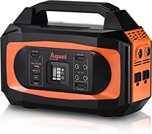 Aguei Portable Power Station?=90% High Efficiency?Solar Charger, 400W (Peak 650W) AC Outlets, 380Wh Low-loss Lithium Backup Battery, Light WeightSolar Powered Generator with Flashlights for Camping, Outdoor and Home Emergency(Solar Panel not included)