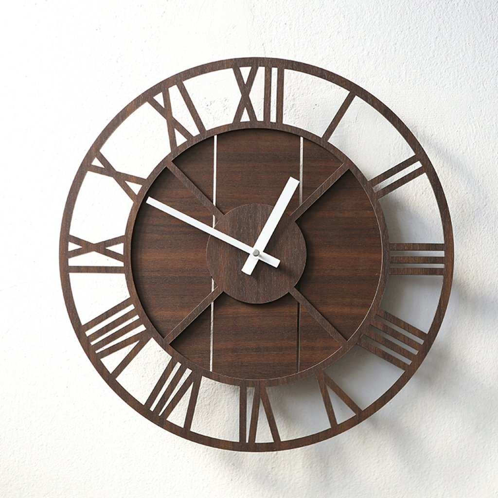 AODISHA 静かな読書室の壁時計、書店コーヒーショップ入学教室オフィスホテルフラワーショップベッドルームリビングルームパティオウォールクロック39.4 * 39.4CM より多くの装飾を取る (色 : Brown) B07FS89MBD Brown Brown
