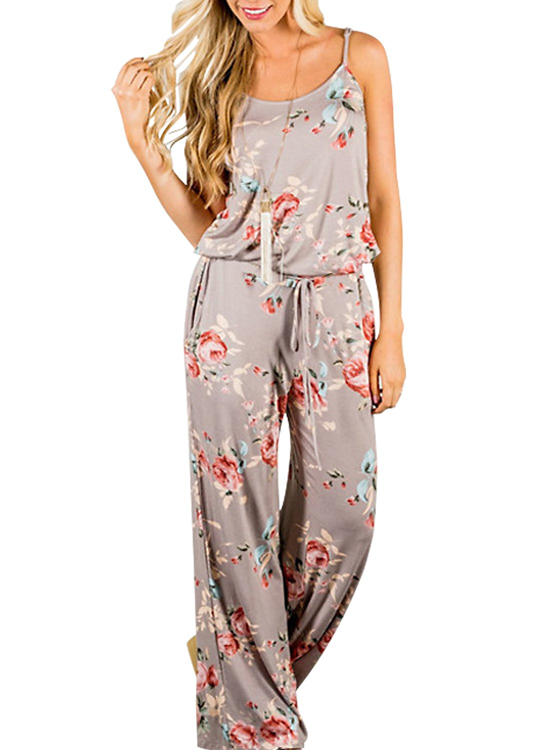 AMiERY Floral Printed Jumpsuit Women Halter Sleeveless Wide Long Pants Jumpsuit Rompers (L, Khaki)
