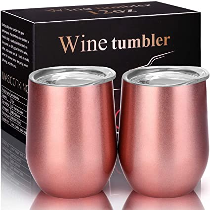 7e12cc59533 MASCOTKING Wine Glasses Tumbler - 12 oz 2 Pack - Double Wall Vacuum  Insulated Cup with