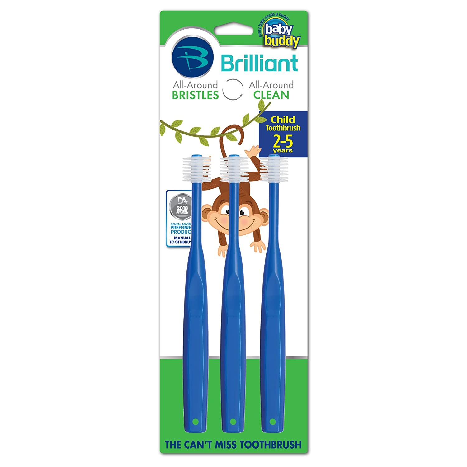 Brilliant Child Toothbrush by Baby Buddy - For Ages 2+ Years, BPA Free Super-Fine Micro Bristles Clean All-Around Mouth, Kids Love Them, Royal Blue, 3 Count Royal Blue 03575RY