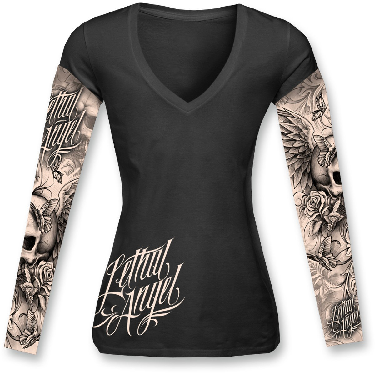 Lethal Threat LT20284XXL Women's Long Sleeve Shirt (Skulls N Tattoos Ls)(Black, XX-Large), 1 Pack by Lethal Threat Designs (Image #1)