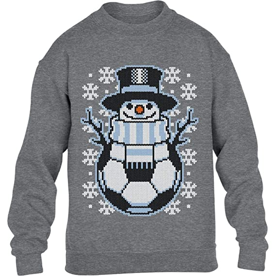 Weihnachts Pullover Damen Fussball Schneemann Winter Pulli