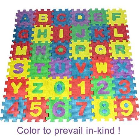 356b0a2a32 Nisels 36 Pezzo Lettere e Numeri Tappeto Puzzle Bambini in soffice Schiuma  EVA, Tappeto da