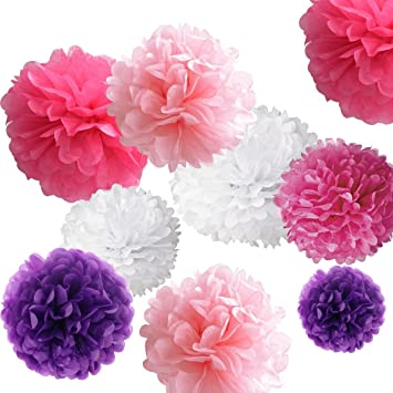 Amazon hompie assorted tissue paper pom poms kit flower balls hompie assorted tissue paper pom poms kit flower balls diy for partybridal shower mightylinksfo