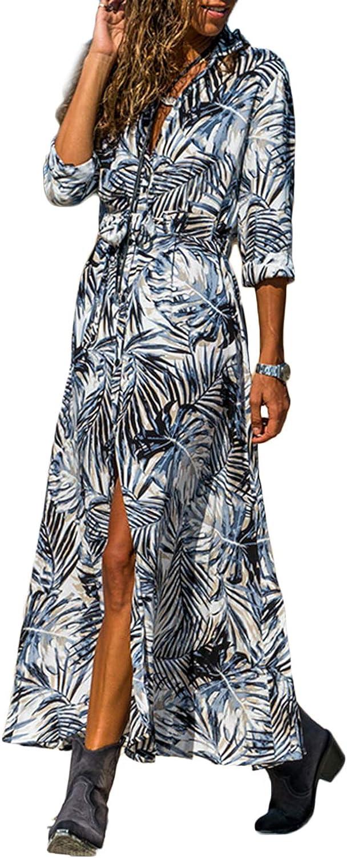 Spring Summer Fall Floral Print Collar Belt Long Sleeve Women Maxi Shirt Dress