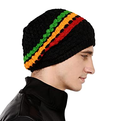 6663dbf3660 VR Designers Bob Marley Colors Winter Woolen Cap for Men and Women (Black  and Multicolor)  Amazon.in  Clothing   Accessories