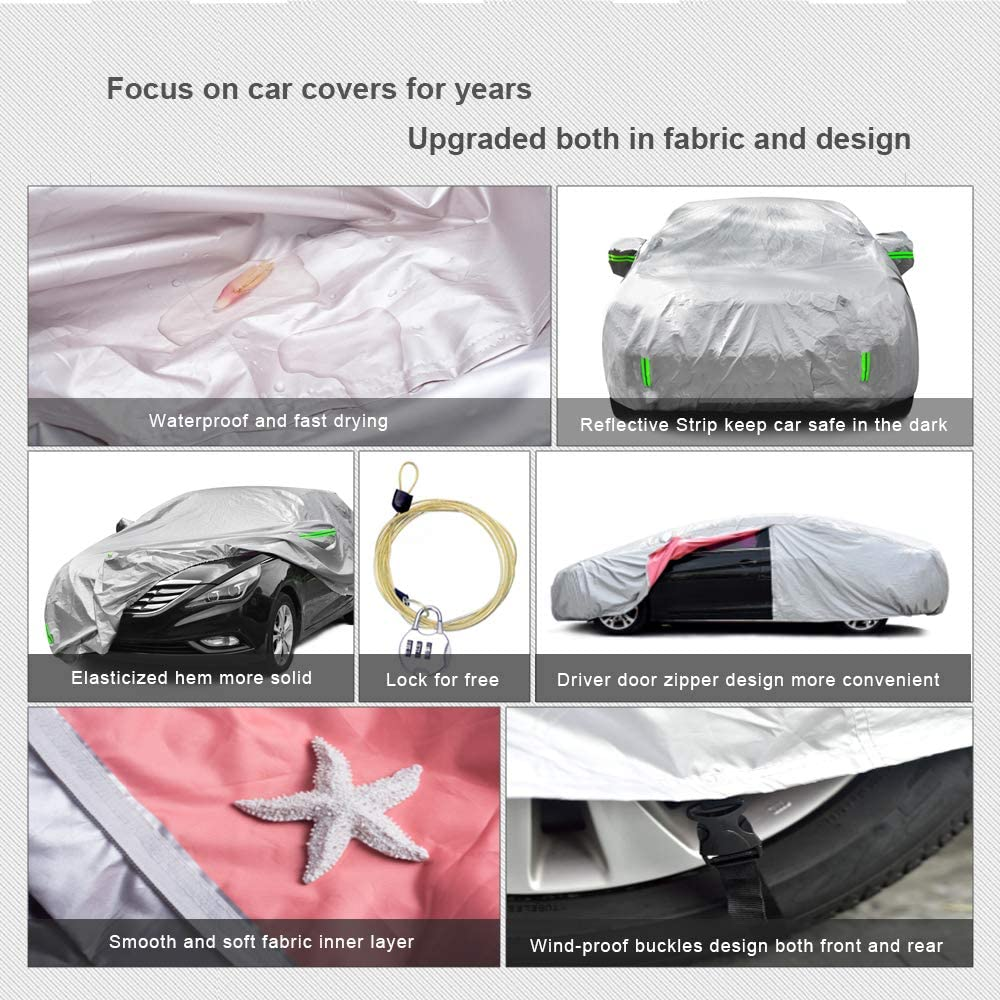 """Tecoom Light Shell Coupe//Convertible//Sport Car Cover Zipper Design Waterproof UV-Proof Windproof for All Weather Indoor Outdoor Fit 170/""""-180/"""" Length"""