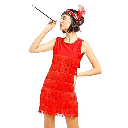 Maboobie Lady Cosplay Disfraz De Charleston Chicago 1920s 1930s Vestido Con Flecos Color Negro Rojo Para Mujer L36 38 Rojo