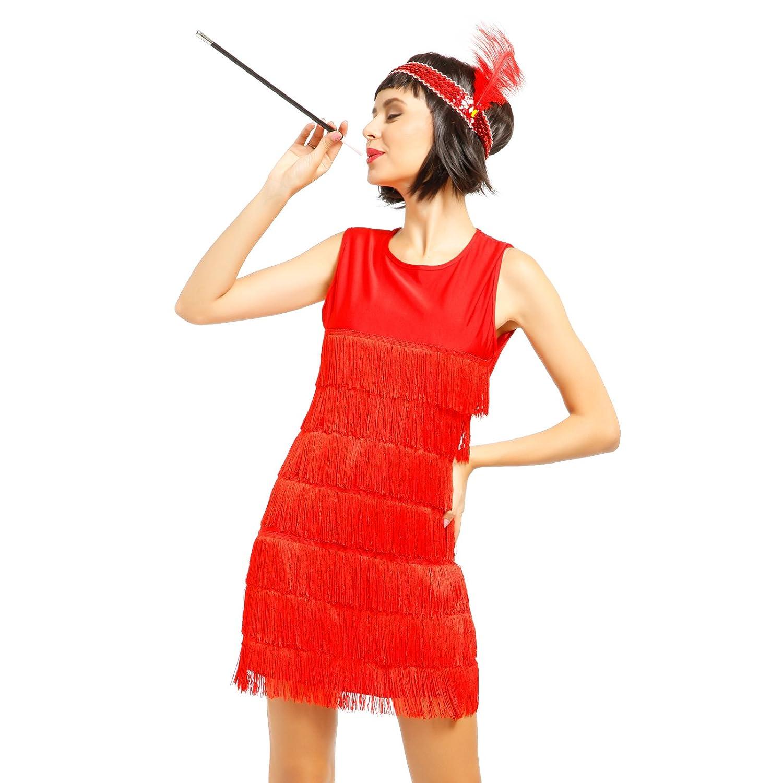 20er Jahre Damen retro Fransen Kleid Flapper Hochzeitkleid Tanzkleid ...