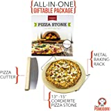 "Cordierite Pizza Stone Cooking Kit with Pizza Cutter - 13"" Pizza Stone, Cutter and Cooling Metal Rack, Made for Oven and Barbeque Grill"