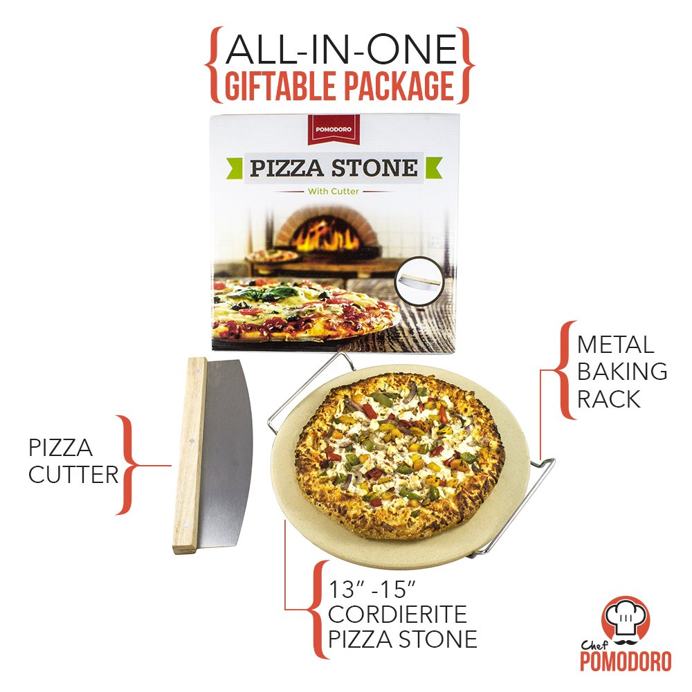 Cordierite Pizza Stone Cooking Kit with Pizza Cutter – 15 Pizza Stone, Cutter and Cooling Metal Rack, Made for Oven and Barbeque Grill