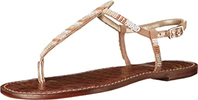 8878f30c126e Sam Edelman Women s Gail Bright White Classic Nude Multi Beads Sandal ...