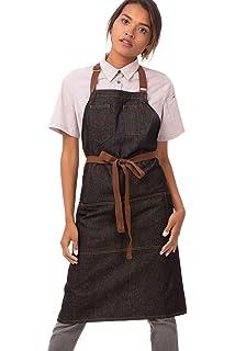Chef Works Unisex Corvallis Bib Apron Black//Burgundy One Size