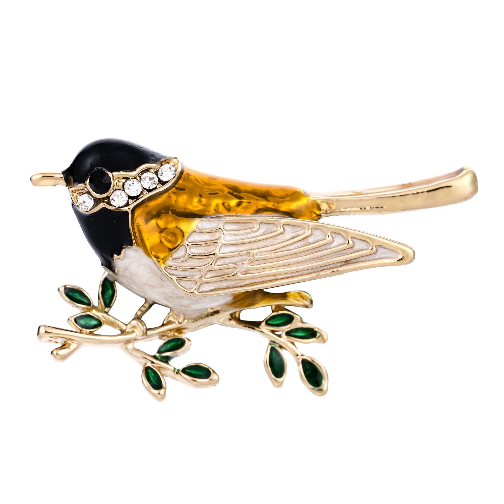 EVER FAITH Austrian Crystal Yellow Enamel Adorable Sparrow Bird Animal Brooch Pin Clear Gold-Tone