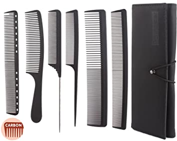 6pcs Professional Salon Hair Cutting Combs Set, Stylist Barber Comb Set,  Stylist Carbon Comb Set