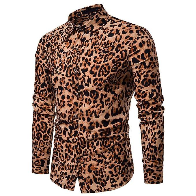 Camisa Slim Fit Casual de Primavera para Hombre Camisa de Manga Larga con Estampado de Leopardo Top Blusa: Amazon.es: Ropa y accesorios