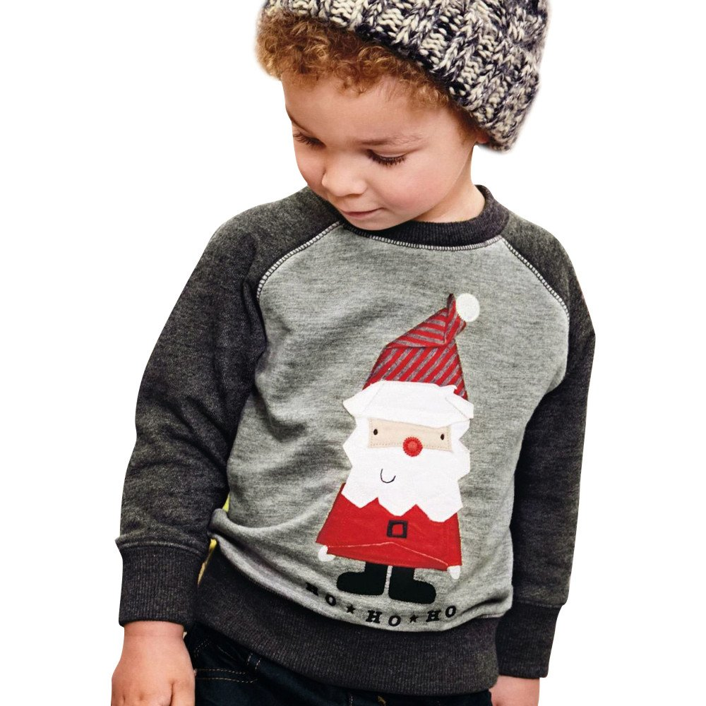Toddler Baby Girls Boy Christmas Sweatshirt Santa Claus Clothes Infant Warm Long Sleeve Pullover Tops Outfits Newborn Gifts 2-7 Years