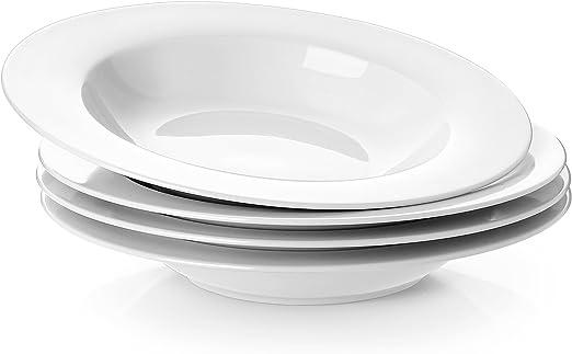 Yhy 8 1 4 Inch Porcelain Soup Bowl Set Rim Pasta Bowls White Set Of 4 Amazon Co Uk Kitchen Home