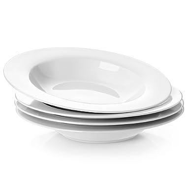 Y YHY 8-1/4-inch Porcelain Soup Bowls/Rim Bowl Set, White, Set of 4