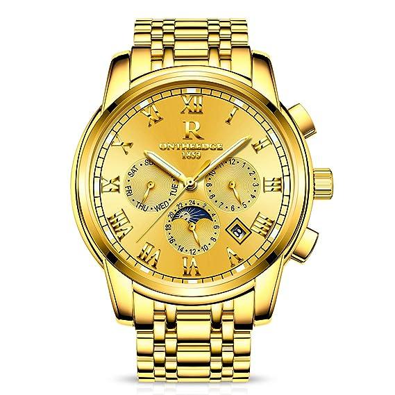 RORIOS Luxury Hombres Automático Mecánico Relojes de Pulsera Roman Number Business Acero Inoxidable Band Day Calendario Multifunción: Amazon.es: Relojes