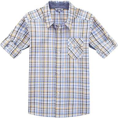 Bienzoe Niño Algodón Enrollar Camisa