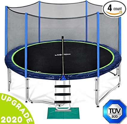12FT Trampoline with Enclosure Net Pad Ladder Lawn Stakes Bounce Jump Upgraded