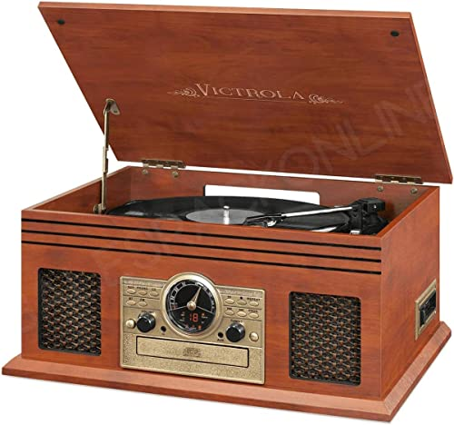 Victrola Classic 6-in-1 3 Speed Turntable with Bluetooth Mahogany VTA-220B