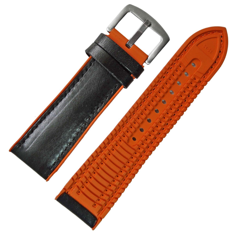 20 mm 22 mm 24 mmブラックカーフレザーwithオレンジシリコン時計ストラップ腕時計バンド 20mm ブラック B079HRNSB820mm