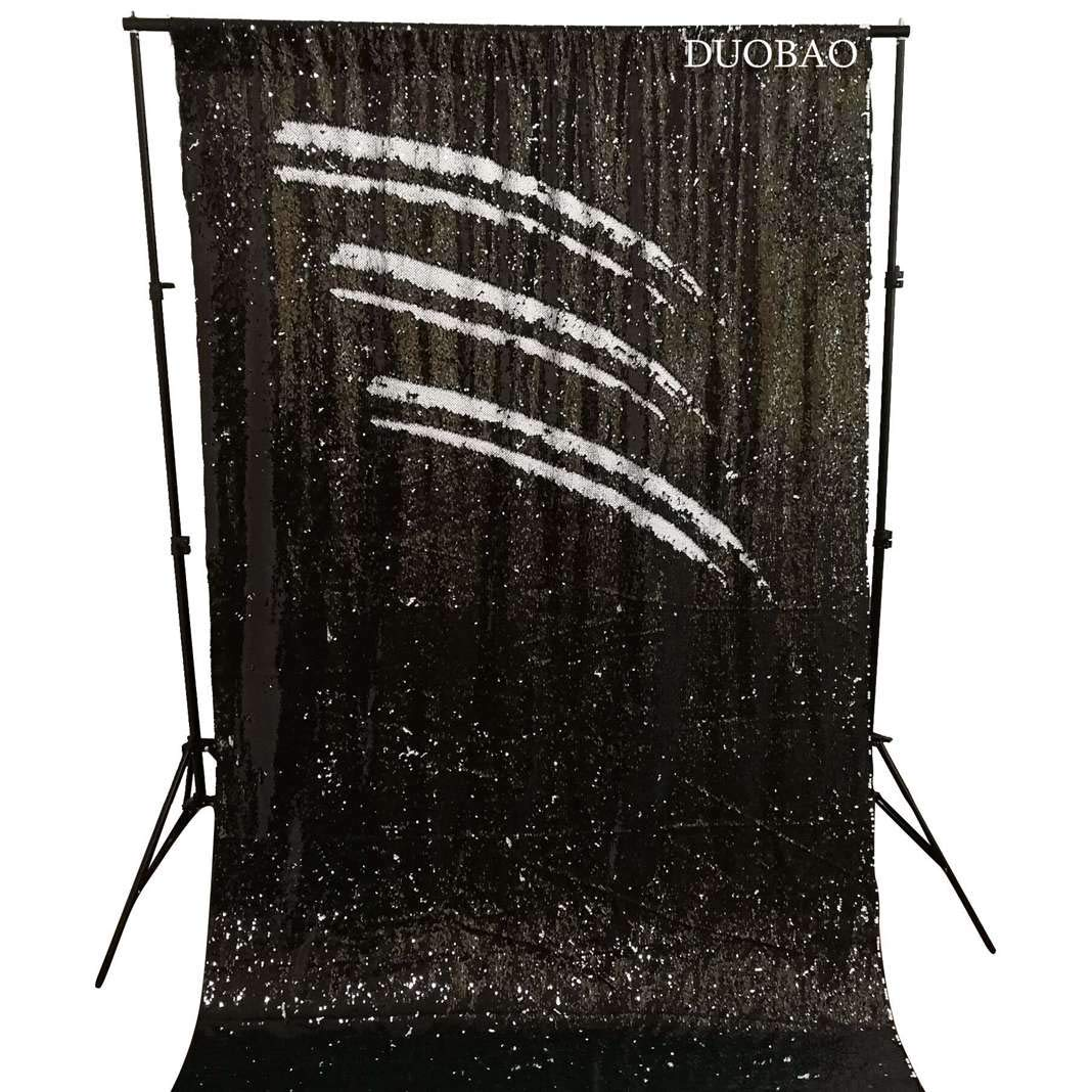 DUOBAO Sequin Backdrop 8Ft Mermaid Sequin Curtains Black to White Reversible Shimmer Backdrop 6FTx8FT Sparkle Photo Backdrop by DUOBAO (Image #1)
