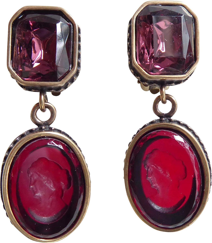 Pendientes de clip de color rojo y lila, muy grandes, con piedra de color violeta, colgante de cristal rojo, hecho a mano, diseño EXTASIA