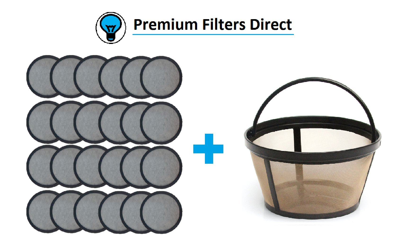 Premium Replacement Charcoal Water Filter Disks for Mr. Coffee Machines [24 Pack] + Reusable Basket Coffee Filter fits Mr. Coffee (24 Water Filters + 1 Reusable Coffee Filter)