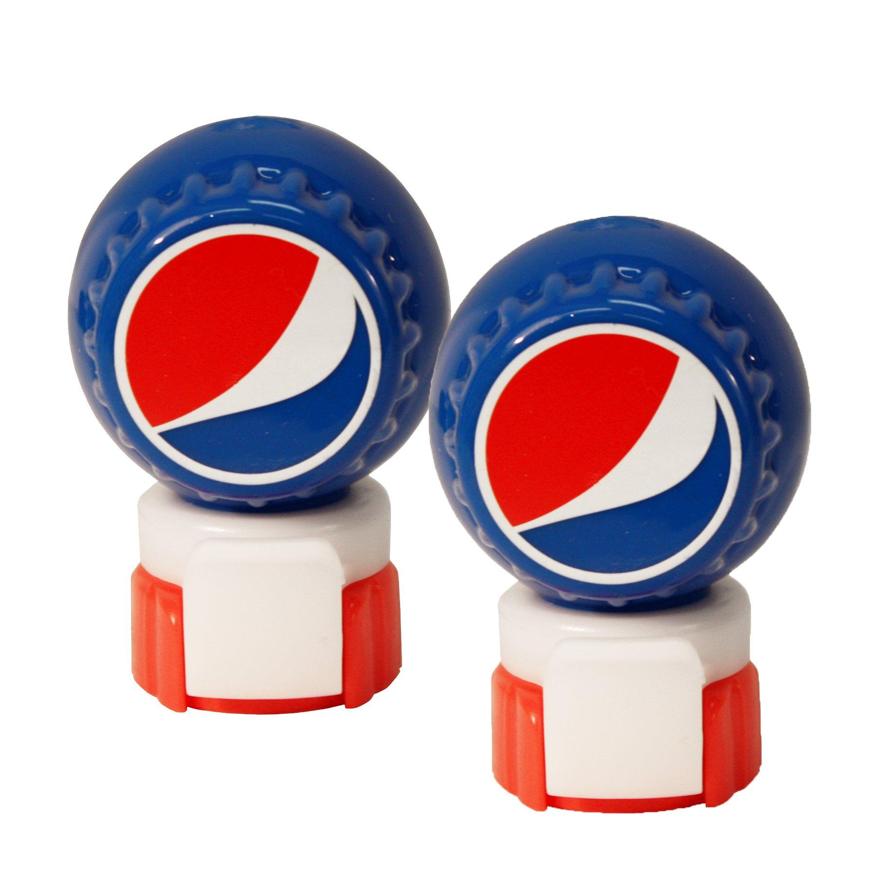 Jokari 2 Count Pepsi Modern Logo Fizz Keeper Soda Bottle Pump and Pour, Red/White/Blue
